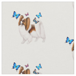 Papillon Dog with Butterflies Cotton Fabric