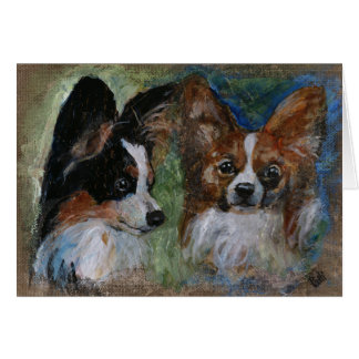 Papillon Dogs Card