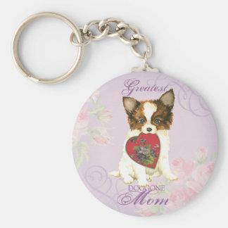 Papillon Heart Mom Basic Round Button Key Ring