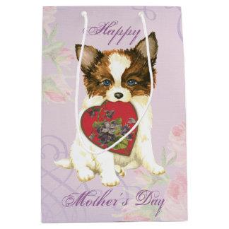Papillon Heart Mom Medium Gift Bag