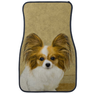 Papillon (Hound Tri) Painting - Original Dog Art Car Mat