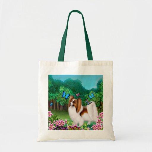 Papillon in Garden Tote Bag