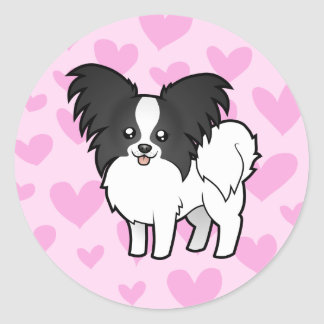 Papillon Love Classic Round Sticker