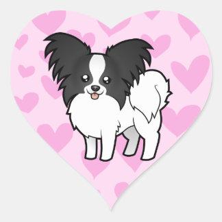Papillon Love Heart Sticker