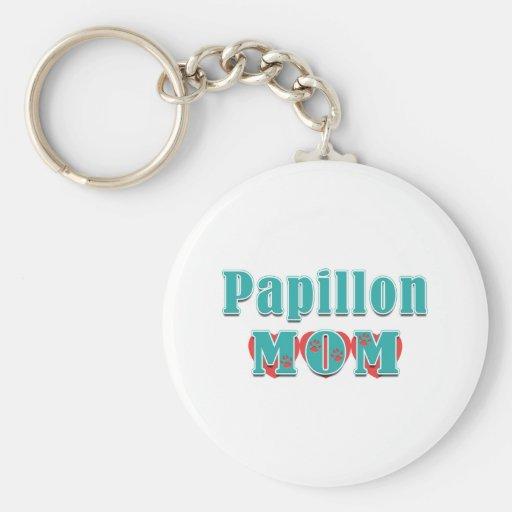 Papillon Mom Hearts Key Chains