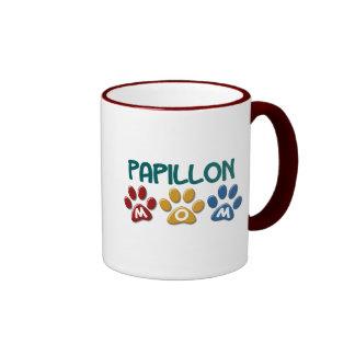 PAPILLON Mom Paw Print 1 Ringer Mug