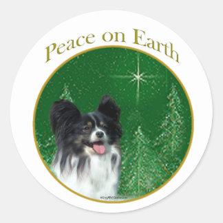 Papillon Peace Round Sticker