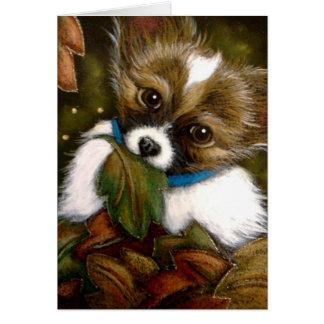 PAPILLON PUPPY DOG AUTUMN Card