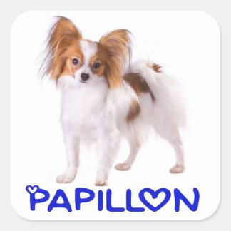 Papillon Puppy Dog - Love Puppies, Hello Square Sticker