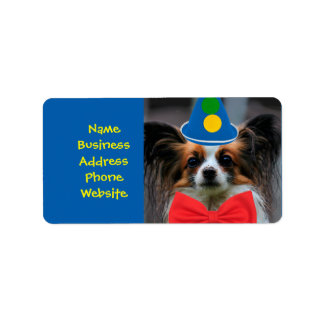 Papillon Puppy Dressed as a Clown Address Label