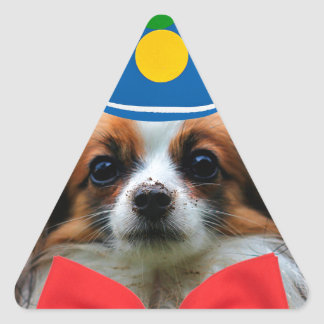 Papillon Puppy Dressed as a Clown Triangle Sticker