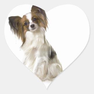 Papillon Puppy interrogative Heart Sticker