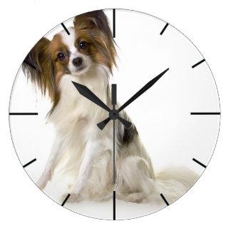 Papillon Puppy interrogative Wall Clocks