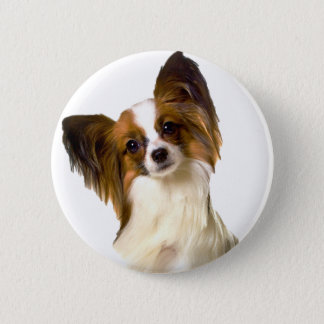 Papillon puppy Isolated on editable Background Pil 6 Cm Round Badge