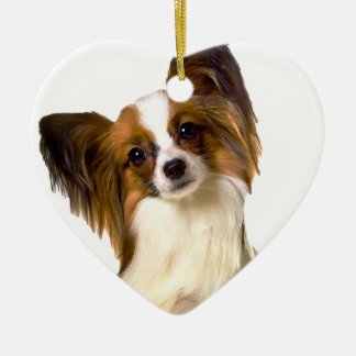 Papillon puppy Isolated on editable Background Pil Ceramic Heart Decoration