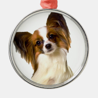 Papillon puppy Isolated on editable Background Pil Silver-Colored Round Decoration
