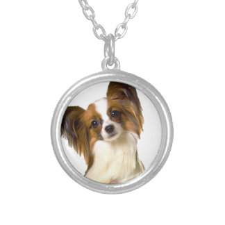 Papillon puppy Isolated on editable Background Pil Silver Plated Necklace