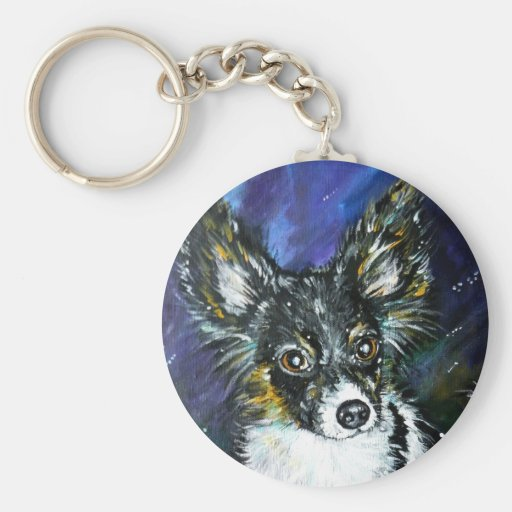 Papillon puppy keychains