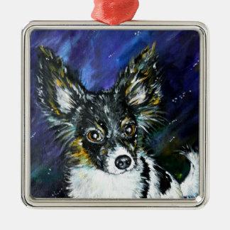 Papillon puppy Silver-Colored square decoration
