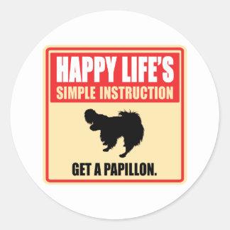 Papillon Round Sticker