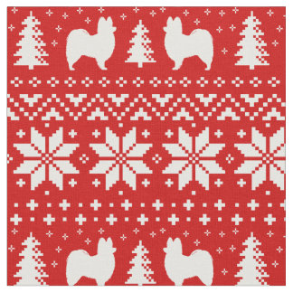 Papillon Silhouettes Christmas Pattern Red Fabric