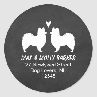 Papillon Silhouettes Love Return Address Round Sticker