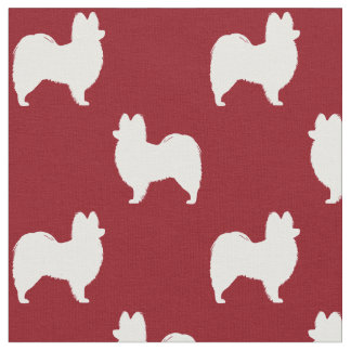 Papillon Silhouettes Pattern Red Fabric