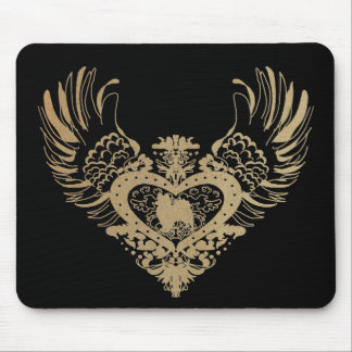 Papillon Winged Heart Mouse Pads