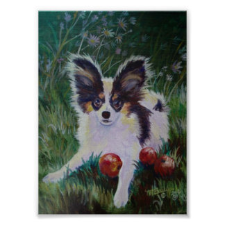 Papillon With Crabapples Print