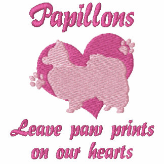 Papillons Leave Paw Prints Embroidered T-Shirt