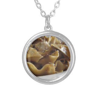 Pappardelle with boar ragu silver plated necklace