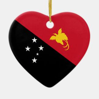 Papua-New Guinea Flag Heart Ceramic Heart Decoration