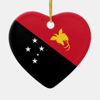 Papua-New Guinea Flag Heart Christmas Ornament