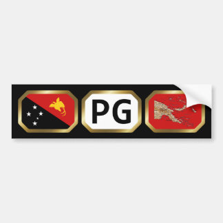 Papua New Guinea Flag Map Code Bumper Sticker