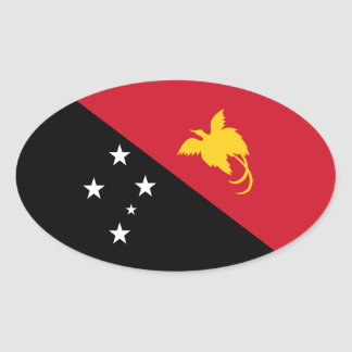 Papua New Guinea/Guinean Flag Oval Sticker