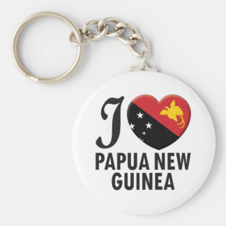 Papua New Guinea Love Basic Round Button Key Ring