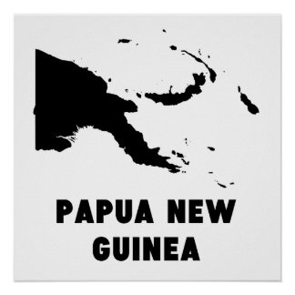 Papua New Guinea Silhouette Poster