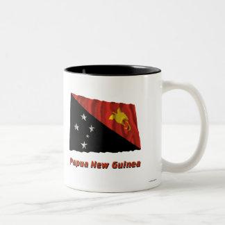Papua New Guinea Waving Flag with Name Two-Tone Mug