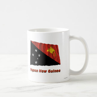Papua New Guinea Waving Flag with Name Coffee Mug