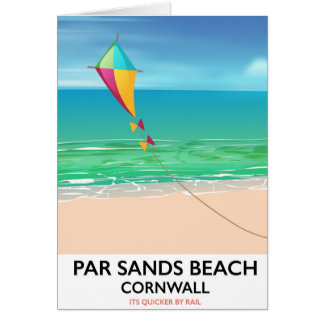 Par Sands Beach Cornwall beach travel poster Card