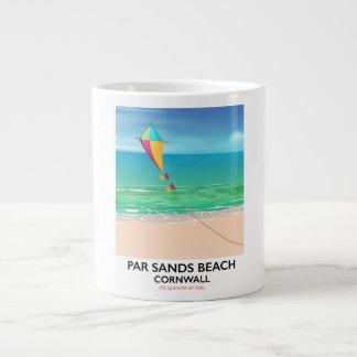 Par Sands Beach Cornwall beach travel poster Large Coffee Mug