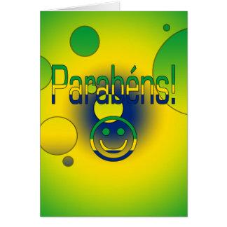 Parabéns! Brazil Flag Colors Pop Art Greeting Card