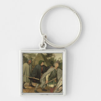 Parable of the Blind, detail of three blind Silver-Colored Square Key Ring