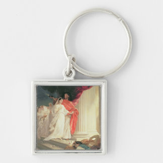 Parable of the Wise and Foolish Virgins, 1886 Silver-Colored Square Key Ring