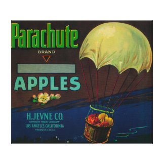 Parachute Apple Crate Label Stretched Canvas Print