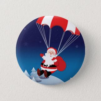 Parachuting Santa 6 Cm Round Badge
