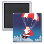 Parachuting Santa Square Magnet