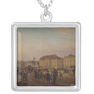Parade before the royal palace, 1839 silver plated necklace