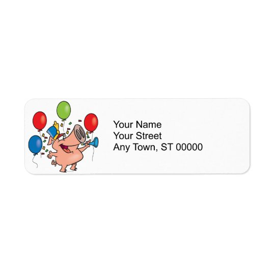 parade celebration party pig cartoon return address label
