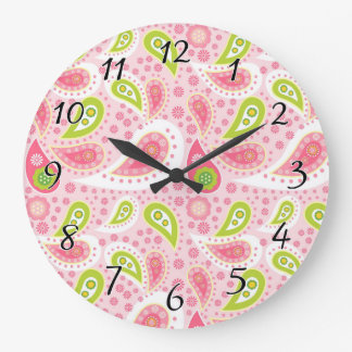 Parade of Pink Paisley Large Clock